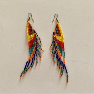 Hand beaded color block geometric earrings